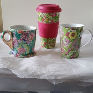 Lilly Pulitzer Lot of 3 - Coffee Cups, Ceramic Mug